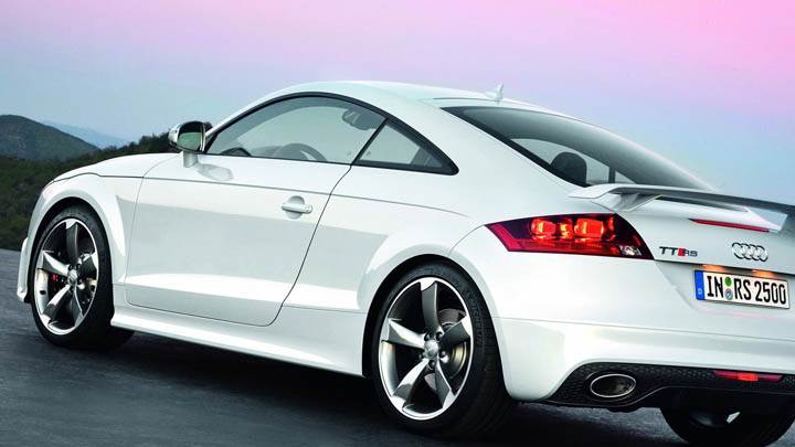 Side Back Pose of Audi TT-RS in White