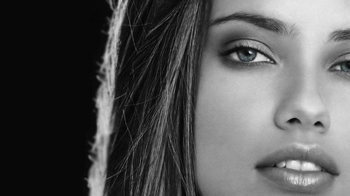 Adriana Lima Black & White Face Closeup