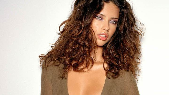 Adriana Lima Looking Front Red Lips in Brown Dress