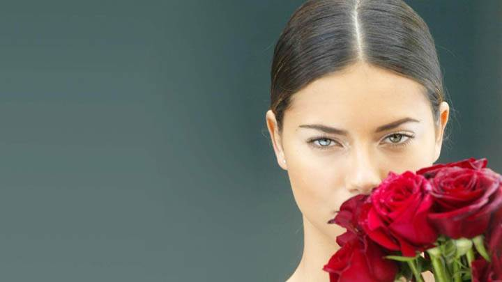 Adriana Lima Red Rose On Face Closeup