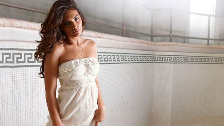 Alyssa Miller Photoshoot in White Dress