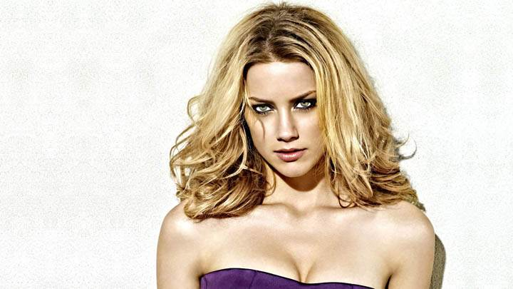 Amber Heard in Purple Dress & Golden Hair