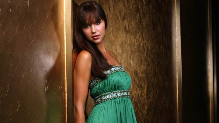 Arielle Kebbel Green Dress Photoshoot