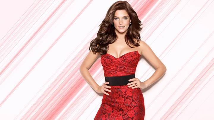 Ashley Greene Modeling Pose in Red Dress