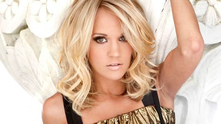 Carrie Underwood Golden Hair in Laying Pose