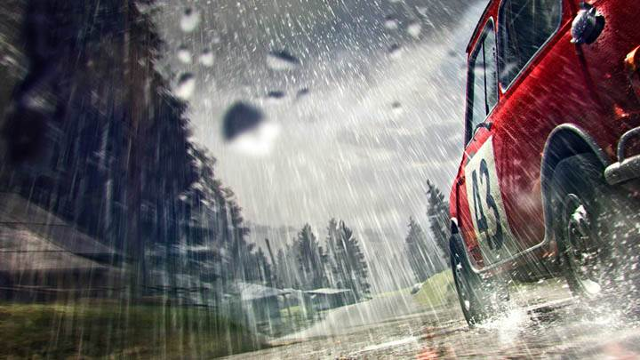 DiRT 3 – Red Car Running in Rain