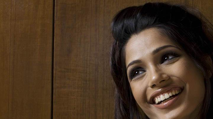 Freida Pinto Laughing Face Closeup