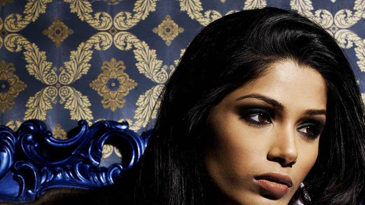 Freida Pinto Looking Side Face Closeup