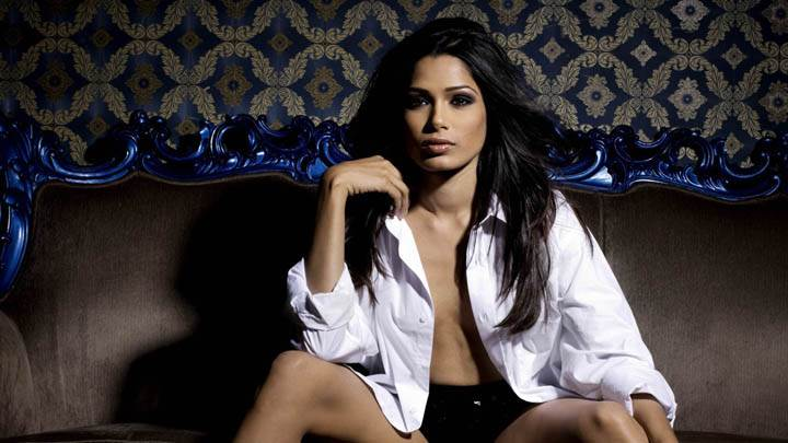Freida Pinto Looking Front in White Shirt Photoshoot