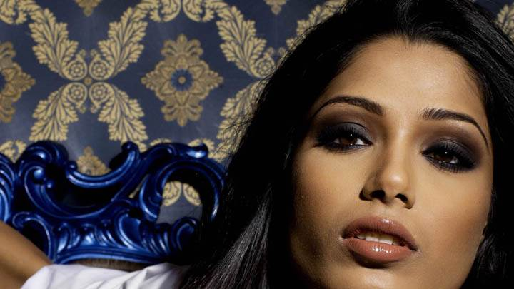 Freida Pinto Wet Lips Face Closeup