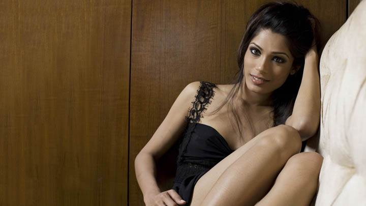 Freida Pinto in Black Dress Smiling Face