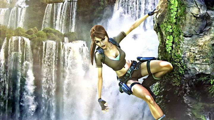 Lara Croft Climing Mountain Near Waterfall