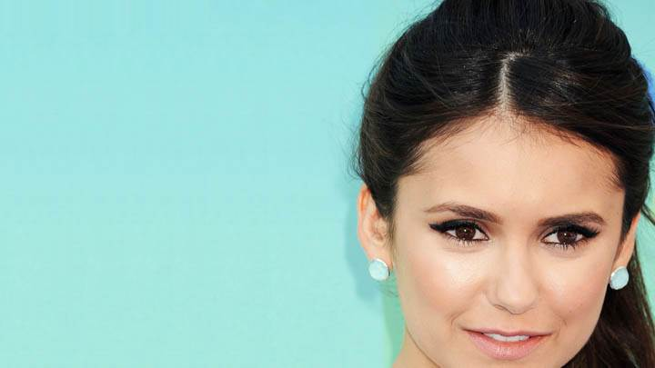 Nina Dobrev Face Closeup & Blue Background