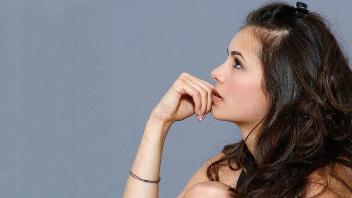Nina Dobrev Looking Something Side Pose