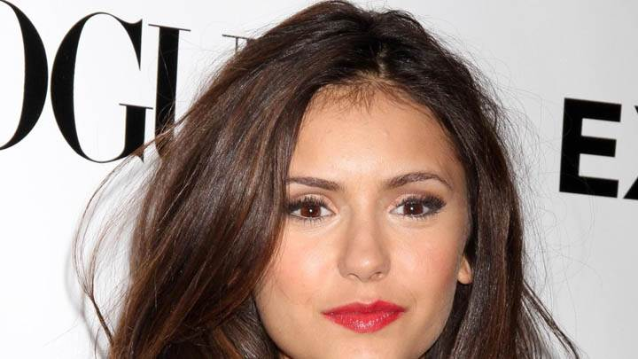 Nina Dobrev Red Lips Face Closeup in Event