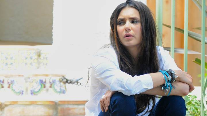 Nina Dobrev Sad Face Looking Side in Top & Jeans