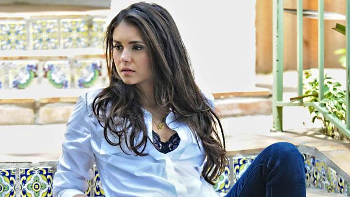 Nina Dobrev Sad Face in White Shirt