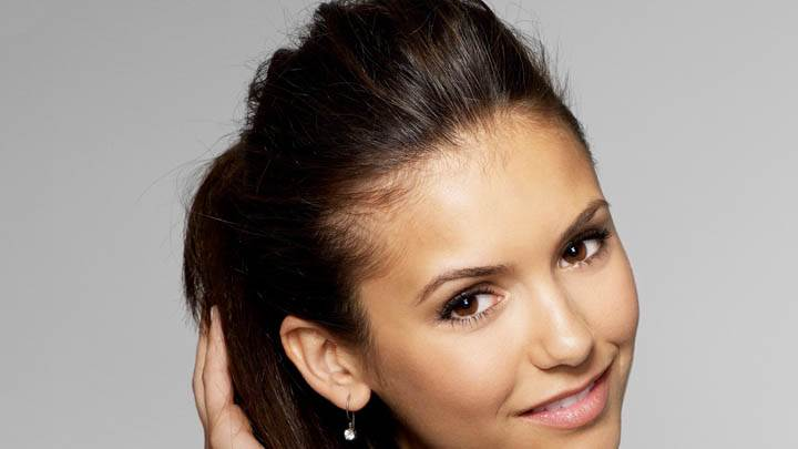 Nina Dobrev Smiling Pink Lips Face Closeup