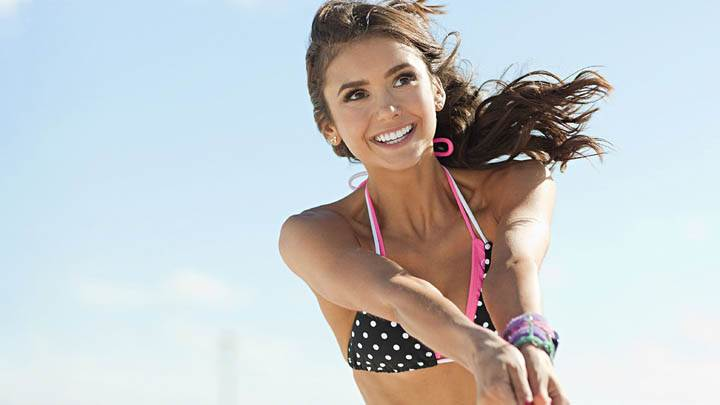 Nina Dobrev Smiling in Bikinis Photoshoot