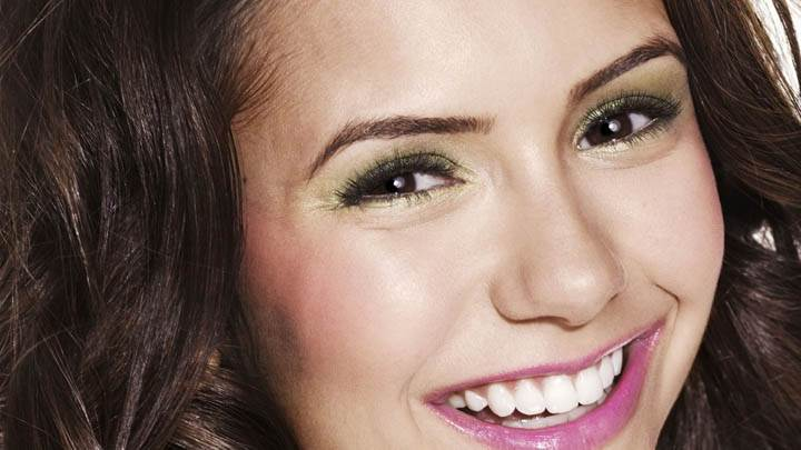 Nina Dobrev Sweet Smile & Pink Lips Face Closeup
