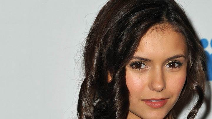Nina Dobrev in Pink Lips & Black Curly Hairs