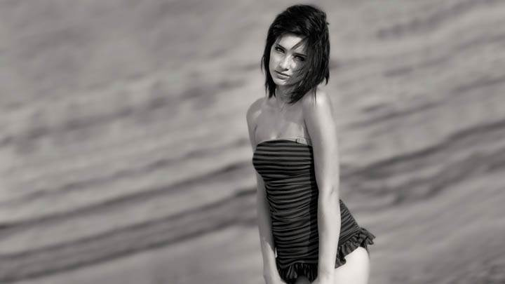 Susan Coffey Black & White Near Beach