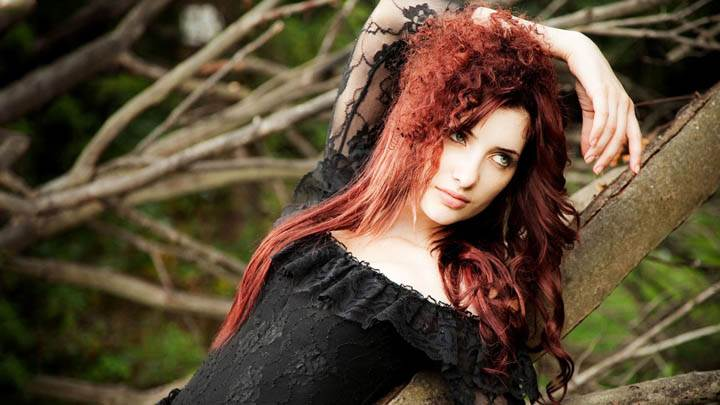 Susan Coffey in Black Dress Photoshoot with Tree Branch