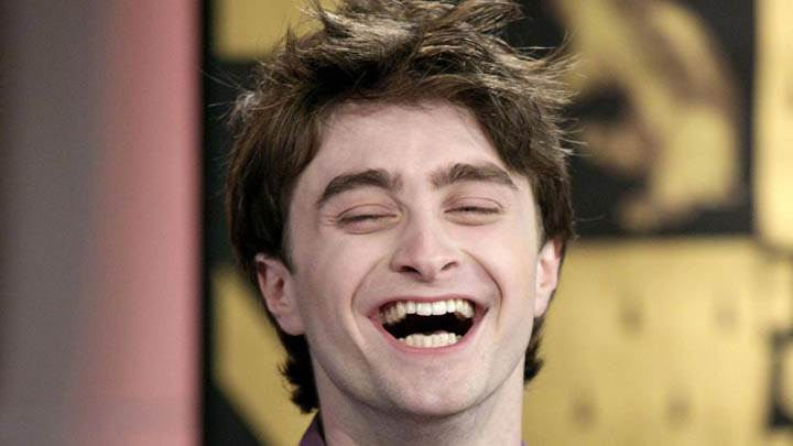 Daniel Radcliffe Laughing Eyes Closed Face Photoshoot