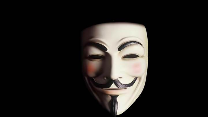 Guy Fawkes Mask On Black Background