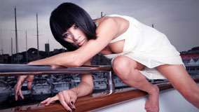 Bai Ling in White Dress Photoshoot on Boat