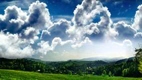 Beautiful Clouds Scene Over Village