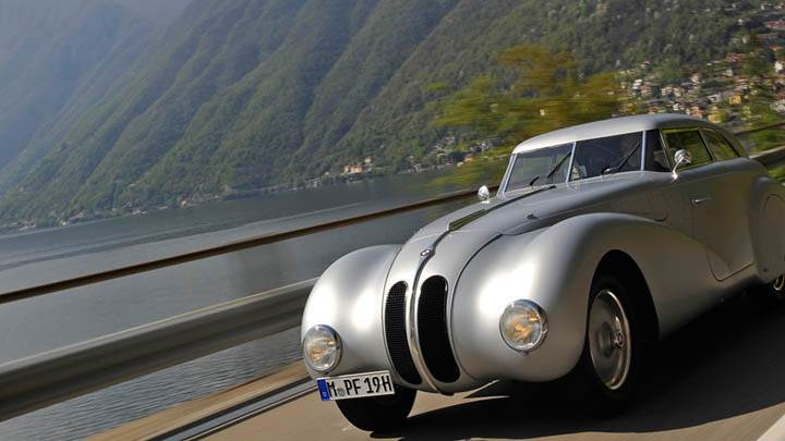 1936 BMW 328 Silver Running On Highway