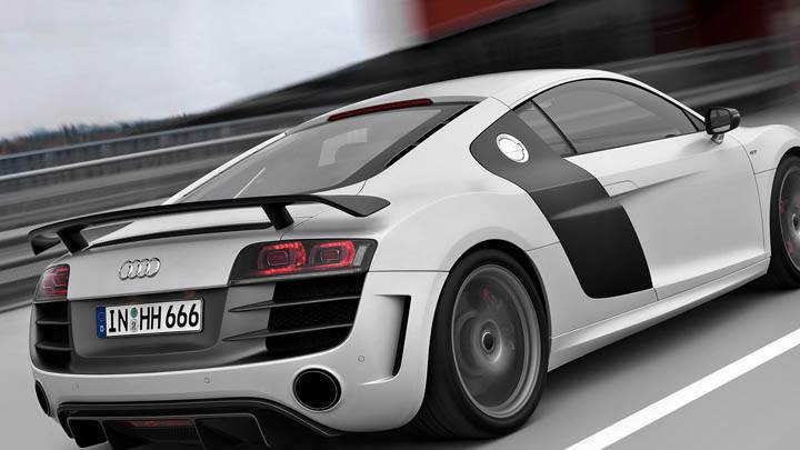 2010 Audi R8 Gt On Race Track Back Pose