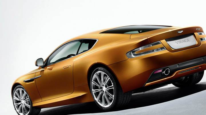 2011 Aston Martin Virage Golden Car Back Pose