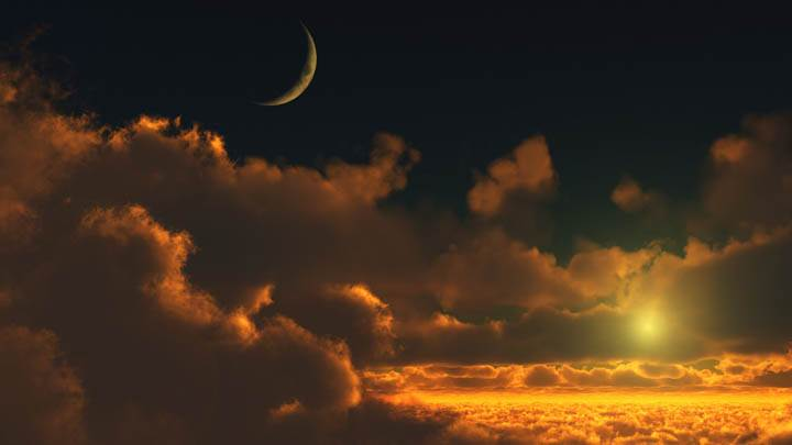Amazing Scene With Sunset & Moon