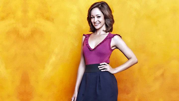 Autumn Reeser Smiling In Pink Dress