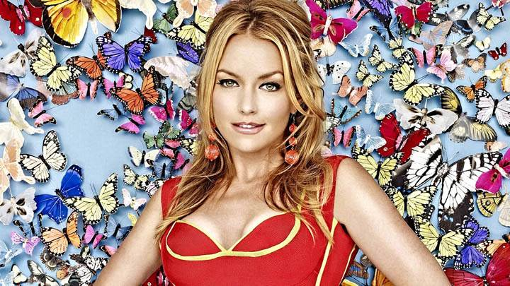 Becki Newton Smiling in Red Dress Photoshoot