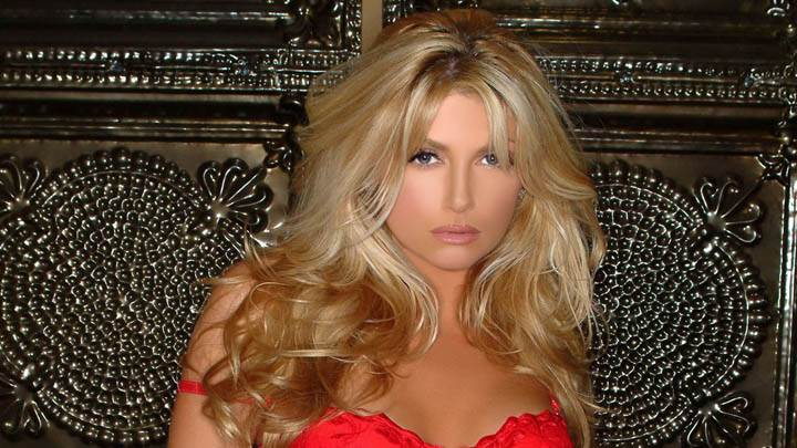 Brande Roderick in Red Dress Cute Face Photoshoot