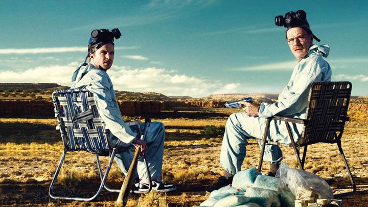 Bryan Cranston & Aaron Paul Sitting On Chairs In Breaking Bad
