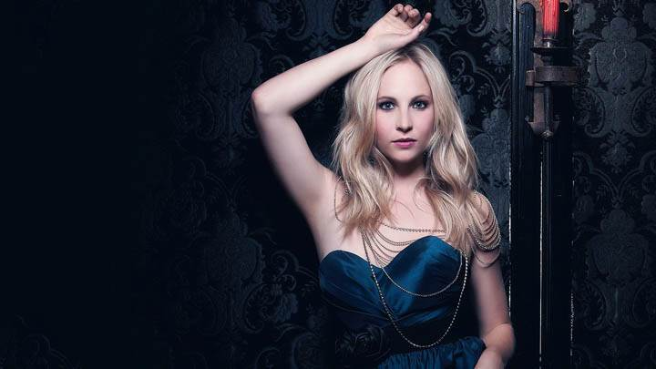 Candice Accola Cute Looking in Blue Dress