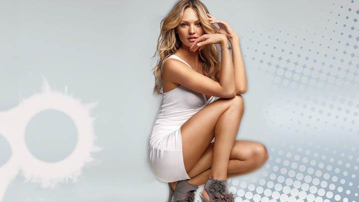 Candice Swanepoel Sitting In White Dress