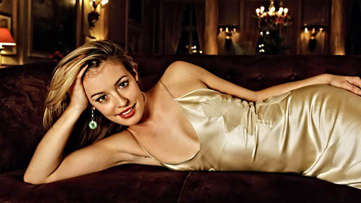 Cat Deeley In Laying Pose In Golden Dress