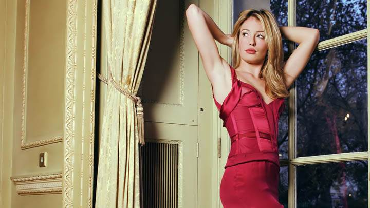 Cat Deeley In Red Dress Standing At Window Side