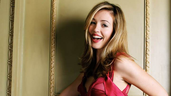 Cat Deeley Laughing In Red Dress Golden Hairs