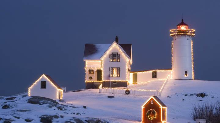 Christmas Light House In Moutains