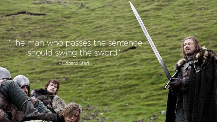 Game Of Thrones – Sean Bean With Sword Near Mountain