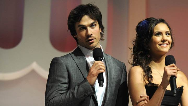 Ian Somerhalder & Nina Dobrev Smiling On Stage