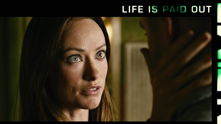 In Time – Olivia Wilde Cute Eyes Face Closeup With Justin Timberlake