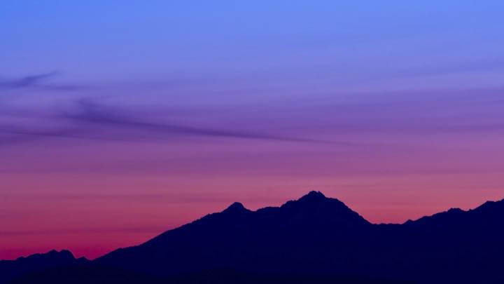 Mountain In Pink Evening At Sunset