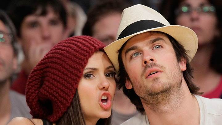 Nina Dobrev Saying Something To Ian Somerhalder